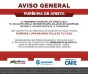 Mañana revisarán líneas y tomas de agua en domicilios de Purísima de Arista, Arroyo Seco, para proyecto hidráulico