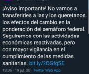 Querétaro no acatará Semáforo Rojo, continúa en Naranja: Pancho Domínguez