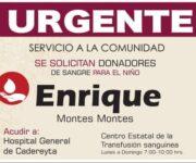 URGEN DONADORES DE SANGRE: Para niño en Cadereyta de Montes